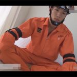 【ゲイ動画】レスキュー隊の細マッチョなイケメンがウケのアナルに即ハメ生掘りし7分程で昇天射精!