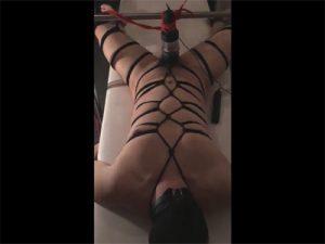 【ツイッターゲイ動画】緊縛&仰向けで拘束したM男の性器に電動オナホールを装着して放置プレイ!