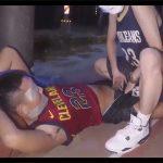 【ツイッターゲイ動画】目と口にガムテープを貼って拘束した変態M男を野外で全裸にさせて手コキでイカせる!