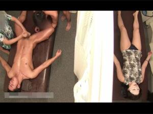 【ゲイ動画ビデオ】彼女と一緒にエステを受けに行ったノンケがカーテンの隣に彼女がいる状態でHなことを次々とされることになる!