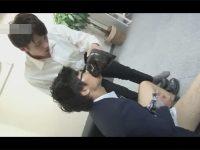 【ゲイ動画】メガネをかけた真面目な雰囲気の匂いフェチの後輩がオフィスで先輩にアナルセックスで犯される!